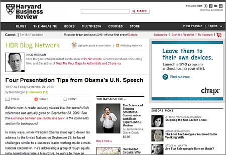 Tips and Advice Presentation - President Obama's UN Speech Courtesy the Harvard Business Review