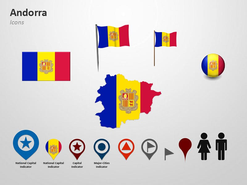 Map and FLag Icons of Andorra PowerPoint Cliparts