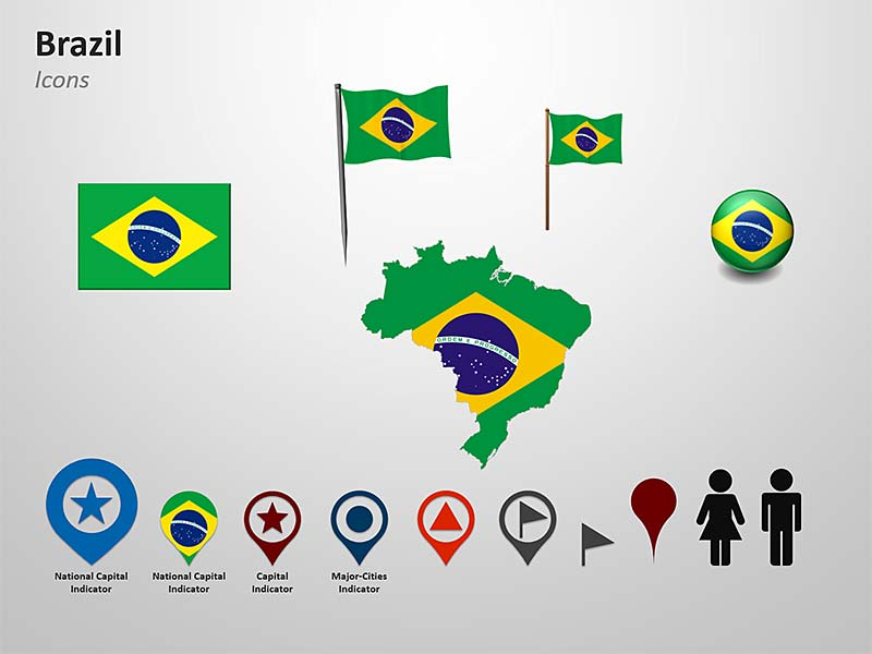 PowerPoint Flag Cliparts of Brazil