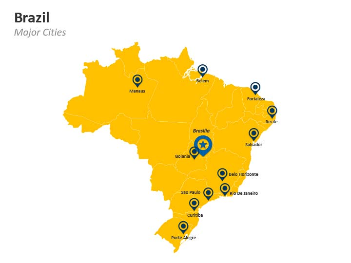 PowerPoint Map of Brazil - Brasilia