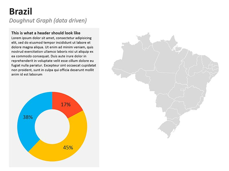 Graphs Map of Brazil PowerPoint