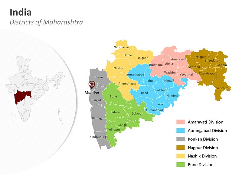 Maharashtra District Map for PowerPoint Presentation