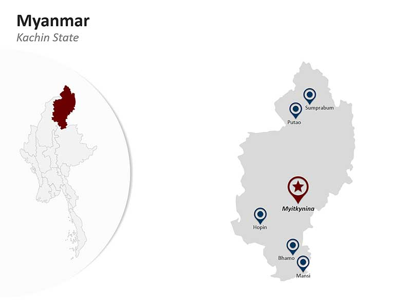 PowerPoint Map of Myanmar - Kachin State