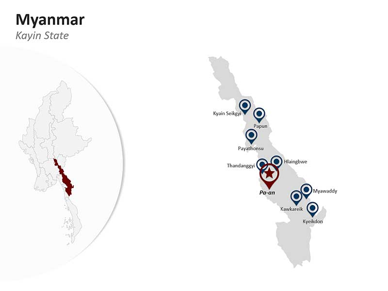 Editable PPT Myanmar Map - Kayin State