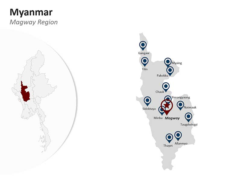 Myanmar PPT Map - Magway Region