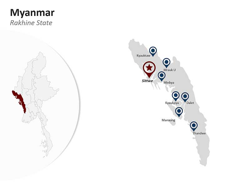 Editable PPT Map of Rakhine State - Myanmar