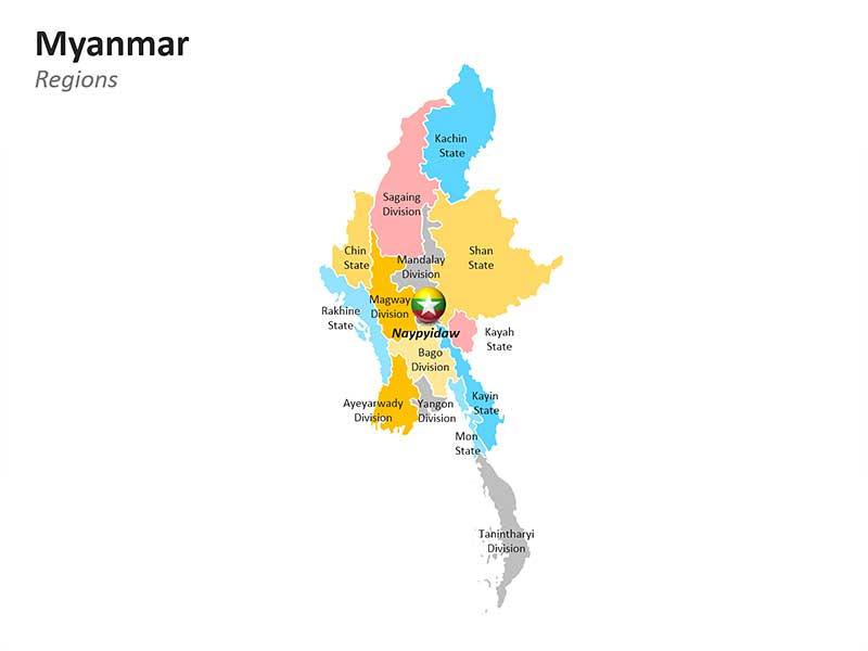 Regions Map of Myanmar in PPT