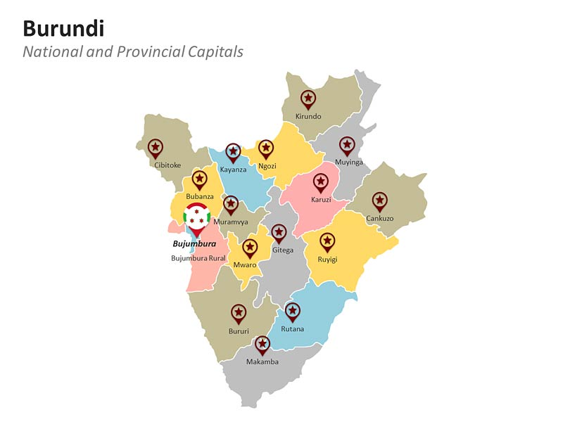 PowerPoint Presentation Map of Burundi - Provinces